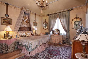 Photo Interior Retro Design Bedroom Bed Chandelier Rug Lamp