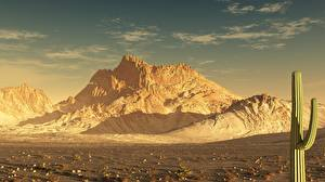 Image Mountains Cactuses Desert 3D_Graphics