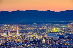 壁纸、、日本、京都市、メガロポリス、夜、都市