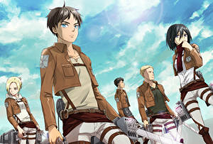 Images Attack on Titan Sky Warriors Young man Anime Girls
