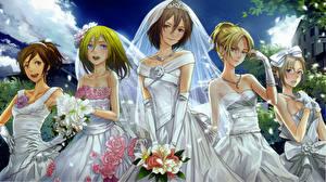 Pictures Attack on Titan Wedding Bride Misaka Ackerman, Christa Lenz, Sasha Browse, Annie Leonhardt, Rico Bizenska Girls