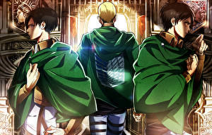 Pictures Attack on Titan Young man Eren Yeager, Levi, Erwin Smith