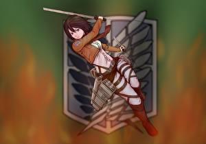 Pictures Attack on Titan Logo Emblem Warrior Swords Mikasa Ackerman Girls