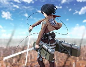Wallpaper Attack on Titan Sky Warrior Swords Mikasa Ackerman Girls