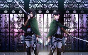 Photo Attack on Titan Warrior Swords Young man Mikasa Ackerman, Rivaille, Levi Ackerman Girls