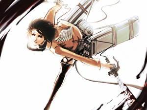 Wallpaper Attack on Titan Warrior Swords Flight Mikasa Ackerman Girls