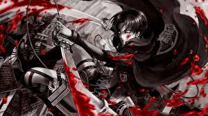 Images Attack on Titan Warrior Blood Swords Guy Cape Levi Ackerman
