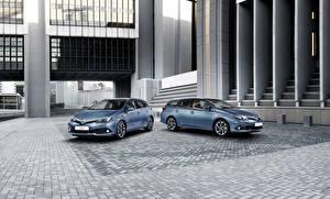 Wallpaper Toyota Light Blue Two Metallic 2015 Auris SW Cars