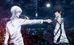 Images Pistols Young man Two Psycho-pass, Shinya Kougami, Shougo Makishima Anime