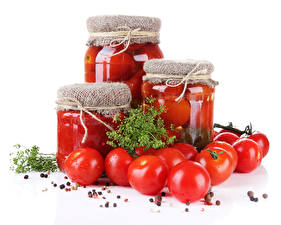 Wallpaper Vegetables Tomatoes Dill Spices Jar Red Food