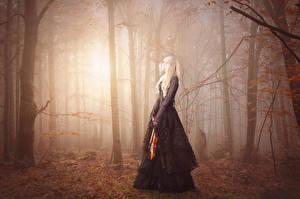 Fonds d'écran Forêts Violon Gothique Fantasy Brouillard Fantasy Filles