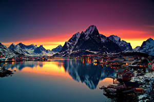 Images Norway Houses Lake Mountains Sunrise and sunset Lofoten Cities