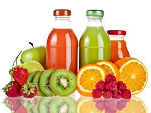Photo Fruit Strawberry Kiwi Raspberry Orange fruit Drinks Juice Bottles Food