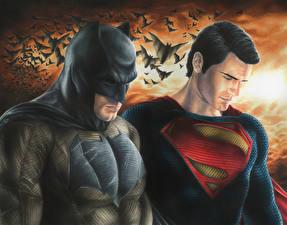 Wallpapers Bats Painting Art Man Superman hero Batman hero Batman v Superman: Dawn of Justice Henry Cavill Ben Affleck 2 DC Comics, dark knight, man of steel Fantasy