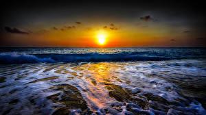 Fotos Meer Sonnenaufgänge und Sonnenuntergänge Horizont Sonne Natur