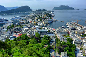 Wallpapers Norway Building Mountains From above Alesund Cities
