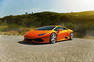 Image Lamborghini Orange Asphalt Luxury Huracan LP640-4 Diamond auto