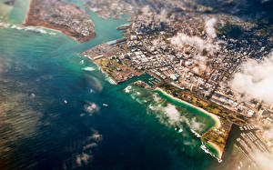 Images Sea Coast Ocean Hawaii Clouds From above Honolulu Cities