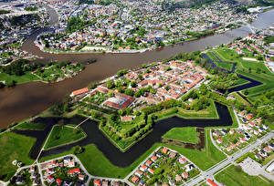 Wallpaper Norway Building Rivers From above Fredrikstad Cities