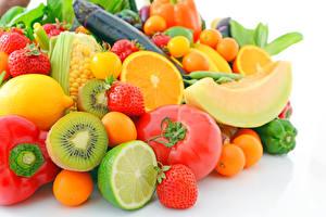 Images Fruit Vegetables Tomatoes Kiwifruit Melons Strawberry Orange fruit Lemons Lime Food