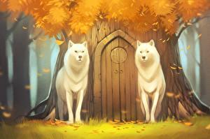 Wallpaper Wolf Painting Art Autumn 2 Door animal