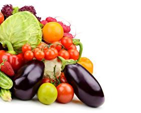 Fotos Gemüse Tomate Kohl Aubergine