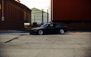 Pictures BMW Black Side Asphalt E36 automobile