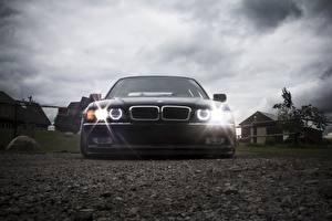 Wallpaper BMW Sky Headlights Front Black E38 stance automobile