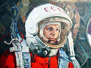 Pictures Astronaut Pictorial art Yuri Gagarin Helmet Space