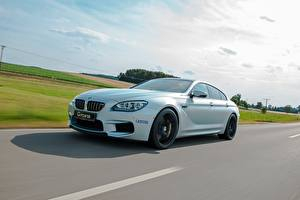 Fondos de escritorio BMW Cielo Carreteras Blanco 2014 G-Power M6 Gran Coupe F06 el carro