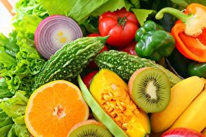 Wallpapers Vegetables Tomatoes Kiwi Orange fruit Pumpkin Bell pepper Onion Food