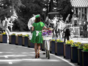 Photo Frock Bicycle Street young woman