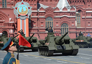 Wallpapers Tanks Soldiers Moscow Victory Day 9 May Military parade Town square SU-100, Red Square