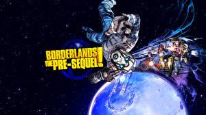 Desktop wallpapers Borderlands Planet Men Firing the pre-sequel vdeo game Fantasy Space