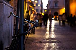 Wallpaper Bike Night time Street Cities