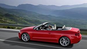 Wallpaper Audi Red Side Asphalt Cabriolet RS 5 coupe Cars