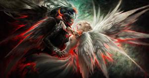Pictures Angels Demon Love Wings Blonde girl Fantasy Girls