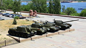 Wallpaper Tanks T-72 Volgograd Museums Panorama Museum The Battle of Stalingrad, ISU-152, IC-2, IC-3 Cities