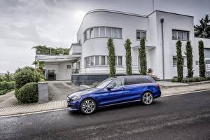 Photo Mercedes-Benz Building Blue Side Asphalt Station wagon 2014 C 250 Avantgarde Estate S205 Cars