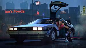 Wallpaper Back to the Future DeLorean Men Night Headlights DeLorean team fortress, scout 3D_Graphics Cars