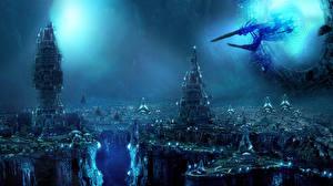 Bureaubladachtergronden Schepen Burcht Sci-fi Fantasy Ruimte