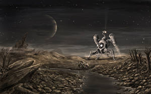 Bureaubladachtergronden Schepen Rivieren Planeet Steen Fantasy Ruimte