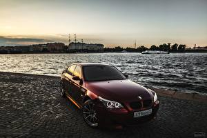 Pictures BMW Rivers St. Petersburg Front Dark red Eric Daviditch Smotra E60 Cars