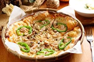 Hintergrundbilder Paprika Pizza Pilze Großansicht Backware Lebensmittel