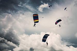 Wallpaper Sky Clouds parachutist sports