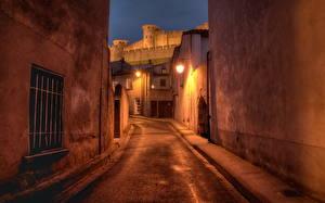 Bakgrunnsbilder Frankrike Gate Natt Gatelykter Vindu Languedoc-Roussillon Carcassonne Byer