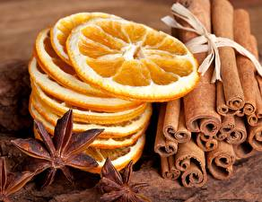 Wallpapers Lemons Cinnamon Closeup Orange fruit Star anise Illicium Food