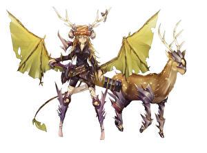 Tapety na pulpit Jelenie Wojownicy Róg Skrzydła Anime Dziewczyny Zwierzęta Fantasy
