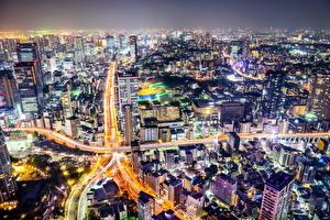 壁纸、、日本、住宅、道、東京都、メガロポリス、夜、都市