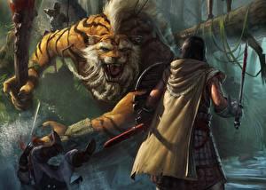 Bilder Ungeheuer Supernatural Wesen Mann Krieger Gezeichnet Schlägerei Schwert Prime World Spiele Fantasy